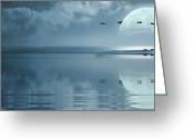 Freedom Digital Art Greeting Cards - Fullmoon over the ocean Greeting Card by Jaroslaw Grudzinski