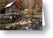 Glade Mill Greeting Cards - Fully Operational Grist Mill Sells Greeting Card by Raymond Gehman