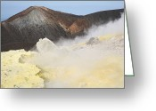 Fumarole Greeting Cards - Fumarole Field On Rim Of Vulcano Greeting Card by Richard Roscoe