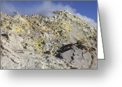 Fumarole Greeting Cards - Fumaroles With Sulphur Deposits. Flank Greeting Card by Richard Roscoe