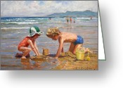 On The Beach Greeting Cards - Fun at the beach Greeting Card by Roelof Rossouw