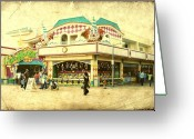 Stretched Canvas Greeting Cards - Fun House - Jersey Shore Greeting Card by Angie McKenzie
