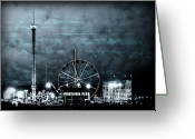 Ferris Wheels Greeting Cards - Fun in The Dark - Jersey Shore Greeting Card by Angie McKenzie