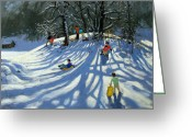 French Landscape Greeting Cards - Fun in the Snow Greeting Card by Andrew Macara