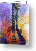 Guitar Greeting Cards - Fun With Les Greeting Card by Andrew King