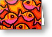 Giclees Greeting Cards - Funky Fish IV Greeting Card by John  Nolan