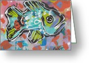 Primitive Mixed Media Greeting Cards - Funky Folk Fish 2012 Greeting Card by Robert Wolverton Jr