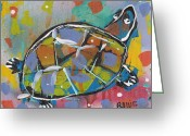 Post Mixed Media Greeting Cards - Funky Folk Turtle 2012 Greeting Card by Robert Wolverton Jr