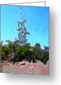 Weathervane Greeting Cards - Funky North Church Greeting Card by Nina-Rosa Duddy
