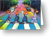 Whimsical Drawings Greeting Cards - Funny Abbey Road Pembroke Welsh CORGI dogs painting Greeting Card by Svetlana Novikova