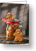Cookie Photo Greeting Cards - Funny gingerbread Men Greeting Card by Christopher Elwell and Amanda Haselock