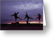 Image Type Photo Greeting Cards - Funny Poses, Yoga And Sunset Greeting Card by Bill Hatcher