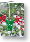 Snowy Tree Greeting Cards - Funny Reindeer Ornament on pine tree Greeting Card by Marianne Campolongo