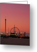 Pink Framed Prints Greeting Cards - Funtown Pier At Sunset II - Jersey Shore Greeting Card by Angie McKenzie