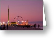 Pink Framed Prints Greeting Cards - Funtown Pier At Sunset III - Jersey Shore Greeting Card by Angie McKenzie