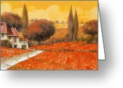 Poppy Greeting Cards - fuoco di Toscana Greeting Card by Guido Borelli