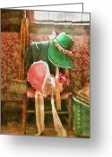 Green Day Greeting Cards - Furniture - Chair - Bonnets  Greeting Card by Mike Savad