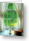 Curtain Greeting Cards - Furniture - Lamp - Still life in a window  Greeting Card by Mike Savad