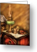 Oil Lamp Greeting Cards - Furniture - Lamp - The Gas Lamp Greeting Card by Mike Savad