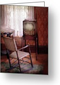 Historic Furniture Greeting Cards - Furniture - Chair - The Invention of Television  Greeting Card by Mike Savad