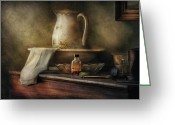 Sink Greeting Cards - Furniture - Table - The Water Pitcher Greeting Card by Mike Savad