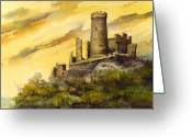 Castle Painting Greeting Cards - Furstenburg On The Rhine Greeting Card by Sam Sidders