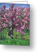Fushia Painting Greeting Cards - Fushia Crabapple Greeting Card by Christina Plichta