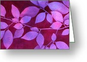 Fushia Painting Greeting Cards - Fushia Leaves Greeting Card by Brenda Jiral