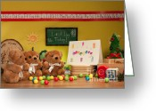 Christmas Blocks Greeting Cards - Fuzzy Bears 2 Greeting Card by Dinah Anaya