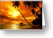 Surf Silhouette Digital Art Greeting Cards - Fuzzy Sunset Greeting Card by Steve Thorpe