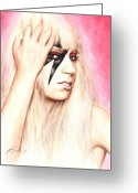 Lady Gaga Greeting Cards - Ga Ga Ooo La La Greeting Card by Bruce Lennon