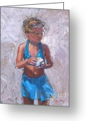 Girl Portrait Greeting Cards - Gabby Greeting Card by Laura Lee Zanghetti