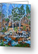 Abstract Landscapes Greeting Cards - Gablesland Trail Along the Eno Greeting Card by Micah Mullen