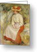 Pierre Renoir Greeting Cards - Gabrielle in a Straw Hat Greeting Card by Pierre Auguste Renoir