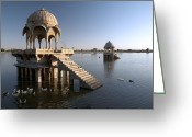 1300s Greeting Cards - Gadi Sagar Tank, India Greeting Card by Colin Cuthbert