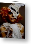 Portriat Greeting Cards - Gaga in white Greeting Card by Leeann Stumpf