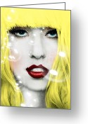Lady Gaga Greeting Cards - Gaga Greeting Card by Mark Ashkenazi