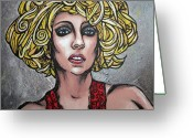 Lady Gaga Greeting Cards - Gaga Greeting Card by Sarah Crumpler