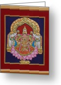 Relief Work Greeting Cards - Gaja Lakshmi in Tanjore art Greeting Card by Vimala Jajoo