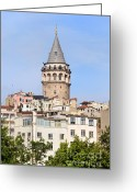 Beyoglu Greeting Cards - Galata Tower in Istanbul Greeting Card by Artur Bogacki