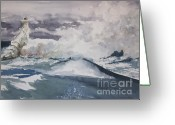 Petoskey Painting Greeting Cards - Gale Force Greeting Card by Sandra Strohschein