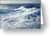 Swell Greeting Cards - Gale Force Winds Lash Huge Ocean Waves Greeting Card by Jason Edwards