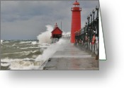 Red Photographs Greeting Cards - Gale warnings Greeting Card by Robert Pearson