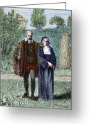 Nun Greeting Cards - Galileo And His Daughter Maria Celeste Greeting Card by Sheila Terry