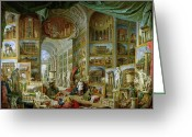 Ancient Prints Greeting Cards - Gallery of Views of Ancient Rome Greeting Card by Giovanni Paolo Pannini
