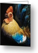 National Pyrography Greeting Cards - Gallic Rooster Greeting Card by Valia Bradshaw