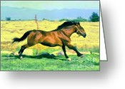 Gold Lame Painting Greeting Cards - Gallope Greeting Card by Odon Czintos