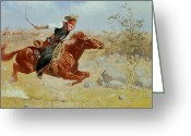 Sprinting Greeting Cards - Galloping Horseman Greeting Card by Frederic Remington
