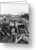 Flooding Greeting Cards - Galveston Disaster - c 1900 Greeting Card by International  Images