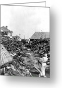 Flooding Greeting Cards - Galveston Flood Debris - September - 1900 Greeting Card by International  Images